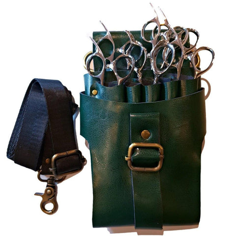 The popular green leather holster for hair scissors and barber shears