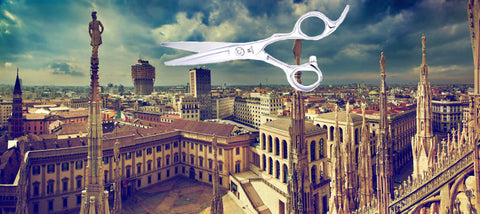 The city of Milan in Italy with a pair of hairdressing scissors