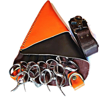 Japan Scissors - 5pcs - Orange & Black Leather Scissors Holster - Japan Scissors