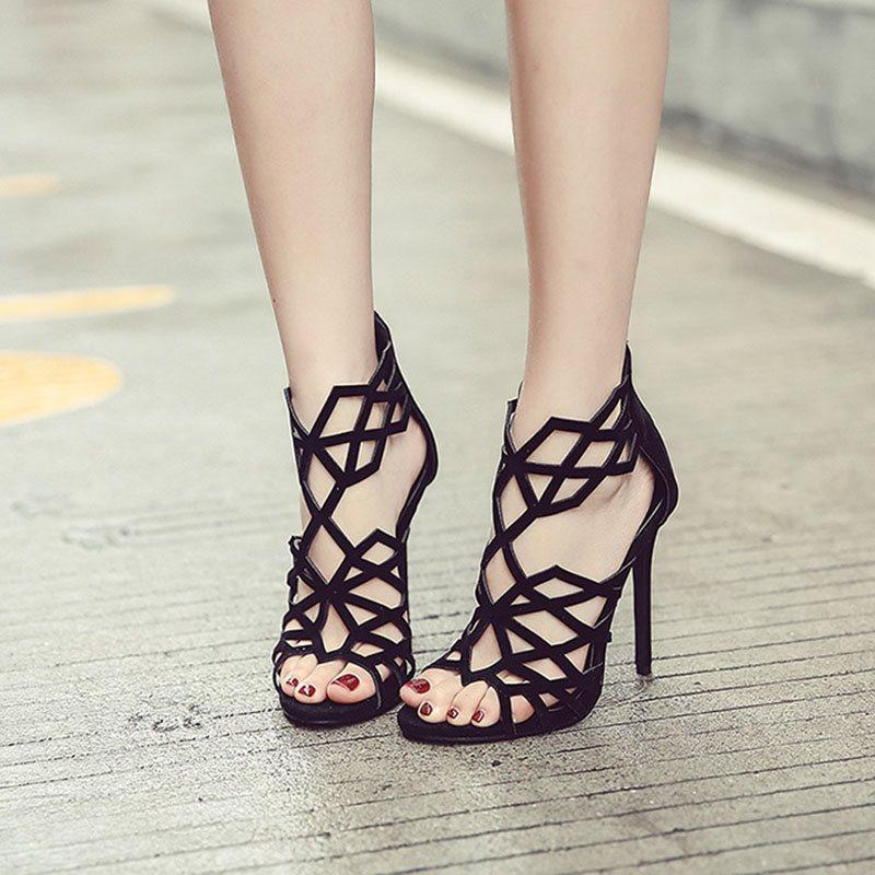 Heel Covering Zipper Stiletto Heel Open Toe Hollow Plain Sandals