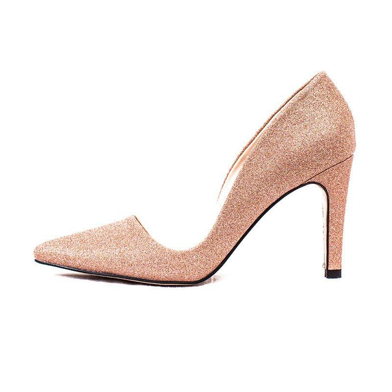 Sequin Slip-On Pointed Toe Stiletto Heel Low-Cut Upper Plain Thin Shoes