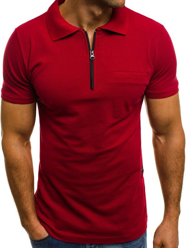 Plain Casual Polo Neck Loose Short Sleeve T-shirt
