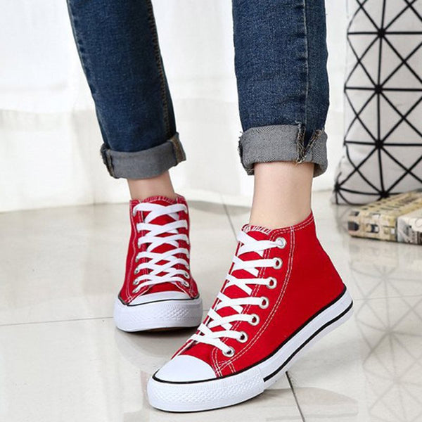 High-Cut Upper Round Toe Lace-Up Casual Canvas Sneakers