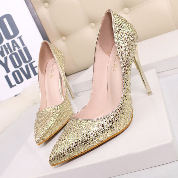 Slip-On Pointed Toe Stiletto Heel Sequin 11cm Low-Cut Upper Thin Shoes