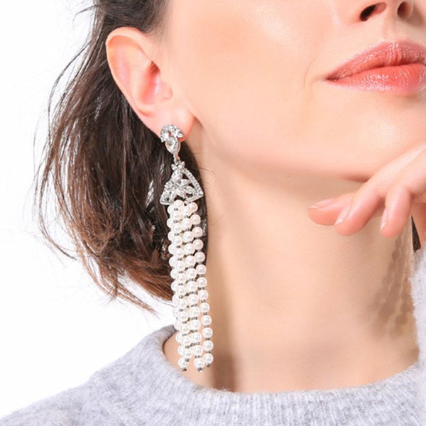 Plain Pearl Diamante Holiday Earrings