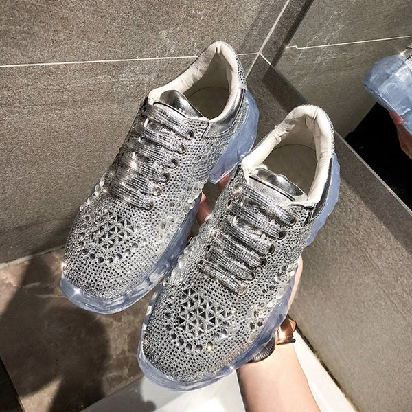 Rhinestone Round Toe Lace-Up Plain Casual Sneakers