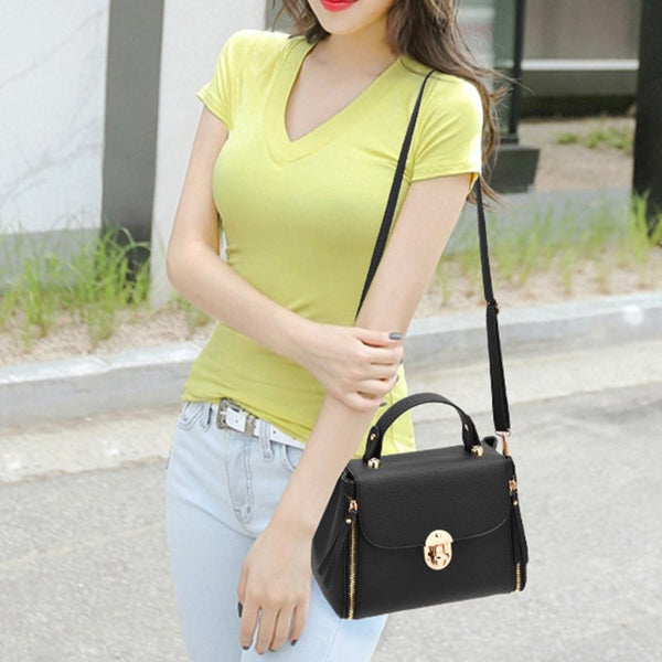 Thread Plain PU Flap Crossbody Bags