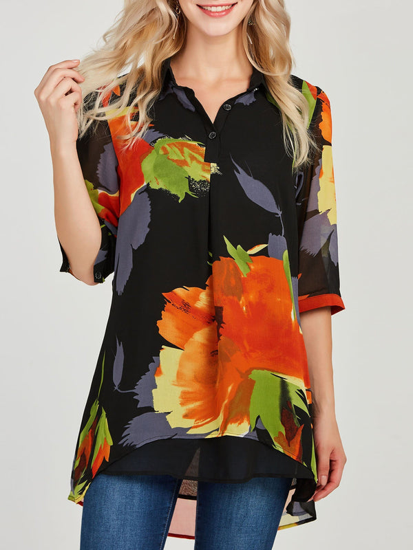 Print Lapel Floral Three-Quarter Sleeve Mid-Length Blouse