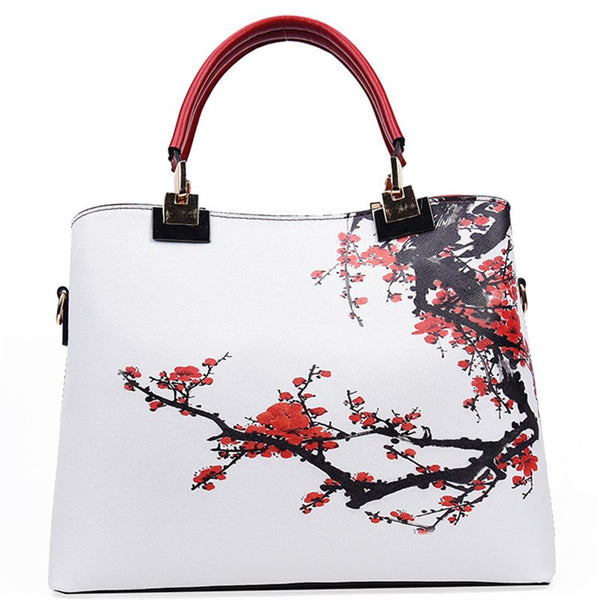 Thread European Floral PU Tote Bags