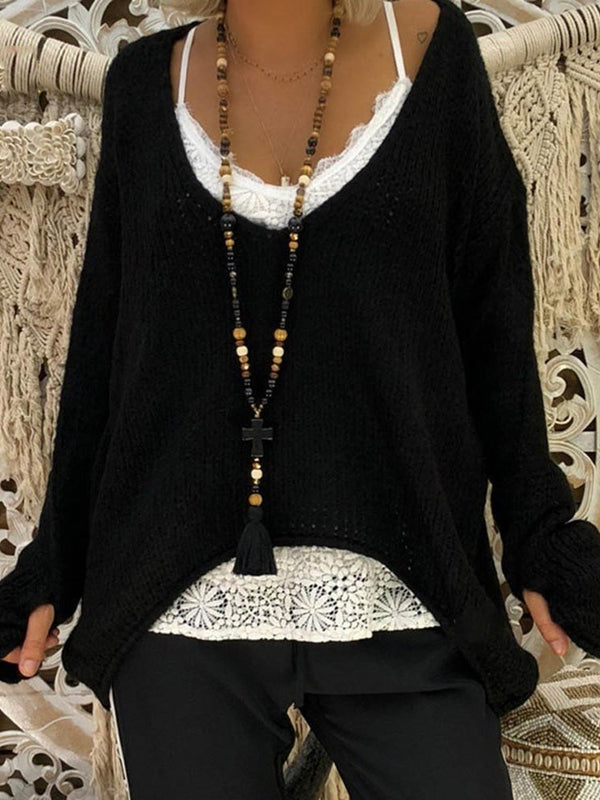 Regular Regular Asymmetric Long Sleeve Fall Sweater