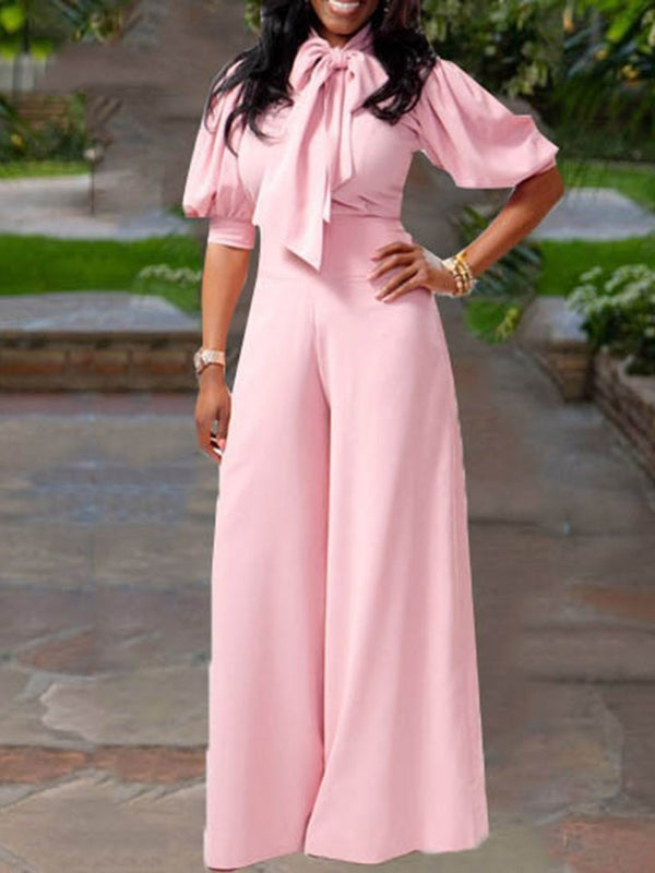 Full Length Date Night Bowknot Slim High Waist Jumpsuit