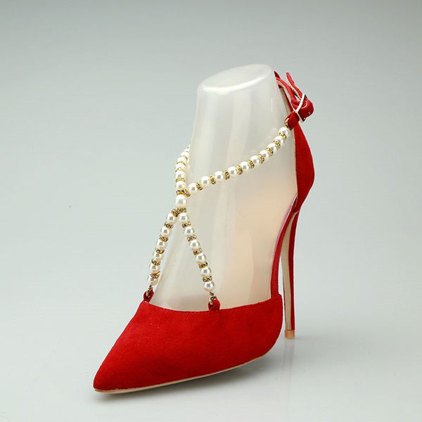 Buckle Stiletto Heel Pointed Toe Beads Plain Casual Thin Shoes