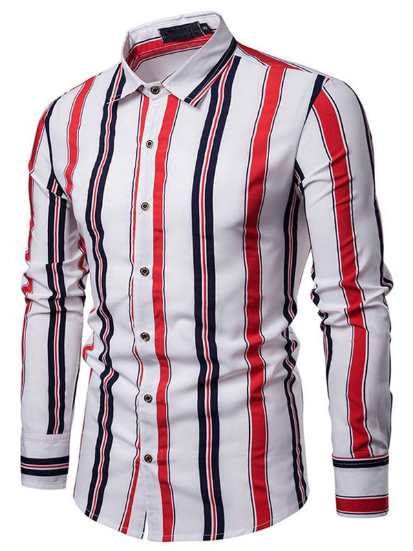 Lapel Casual Stripe Slim Single-Breasted Shirt