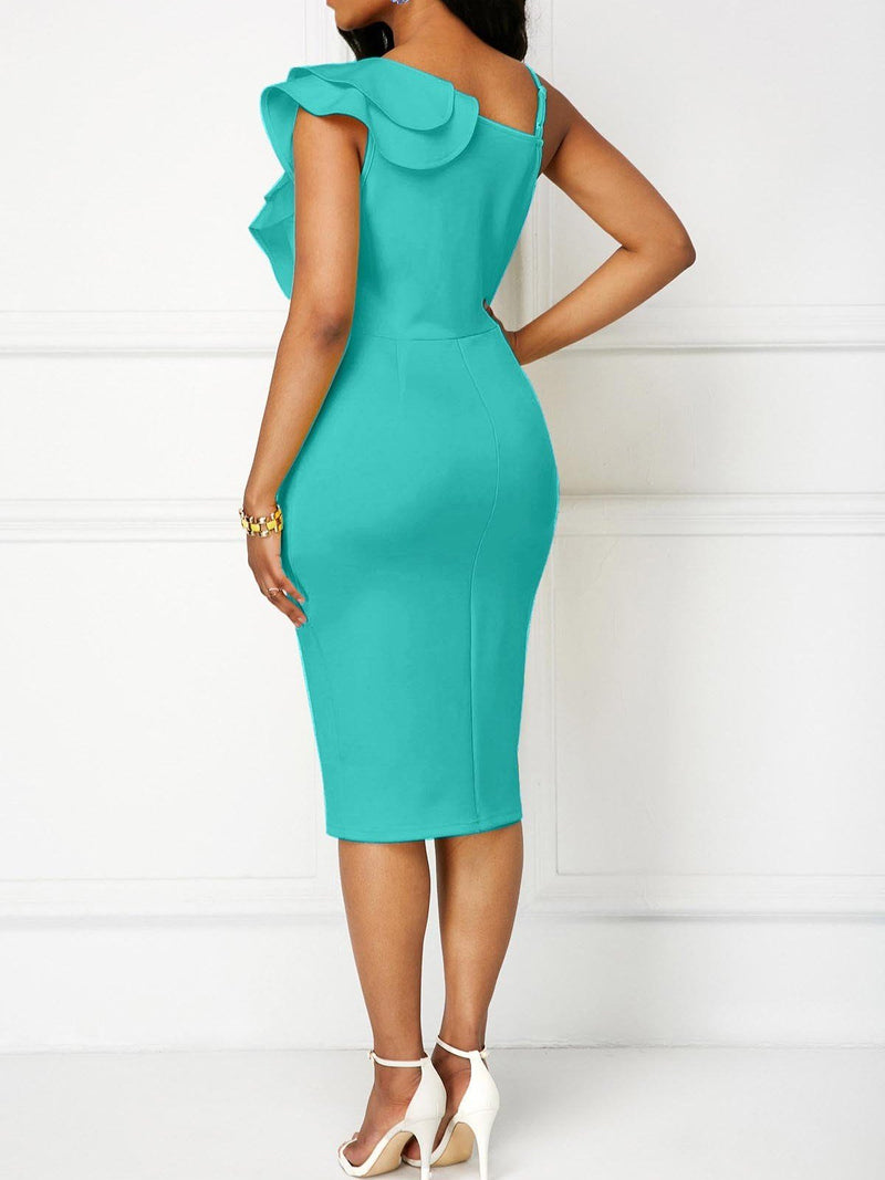 Elegant Pure Color Falbala V-Neck Bodycon Dress