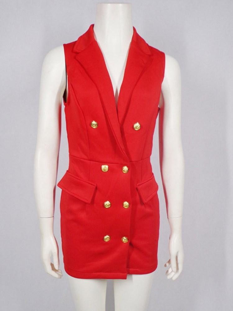 Plain Button Double-Breasted Thin Summer Vest