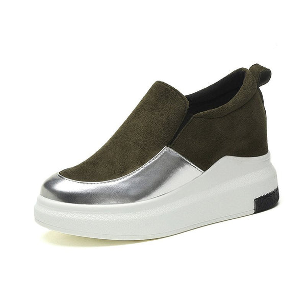 Round Toe Platform Slip-On Casual Patchwork Sneakers