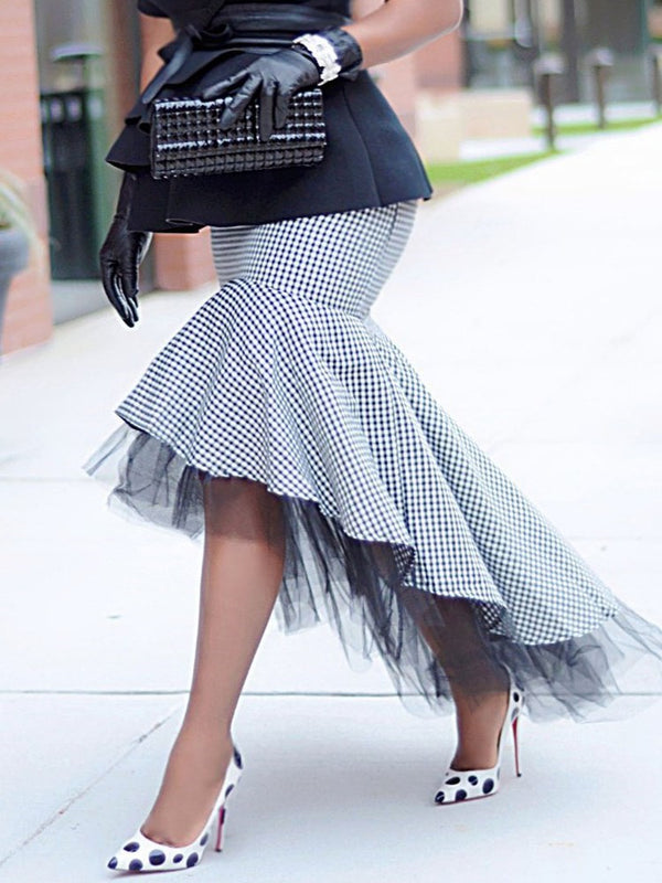 Houndstooth Floor-Length Patchwork Fashion Skirt