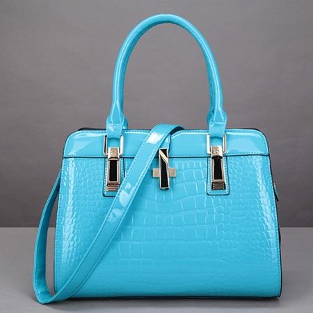 Patent Leather Plain European Embossing Square Tote Bags