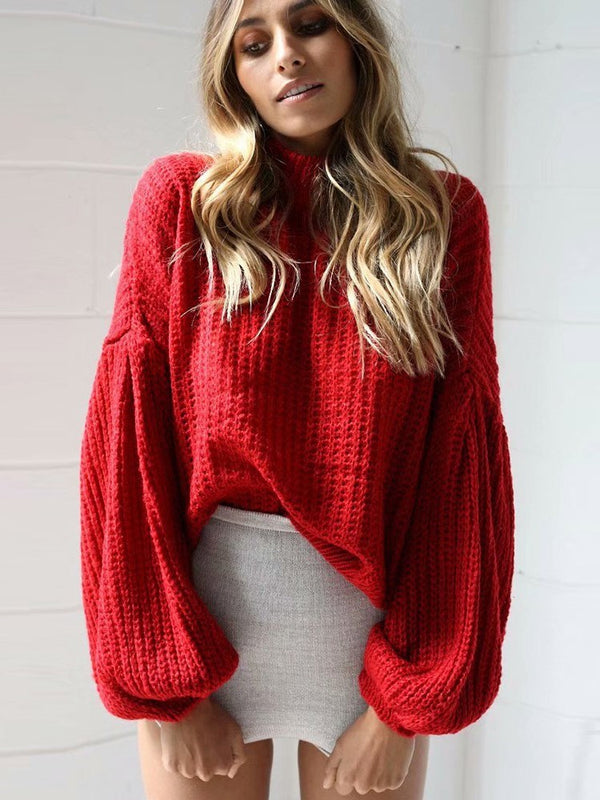 Lantern Sleeve Thin Round Neck Winter Sweater