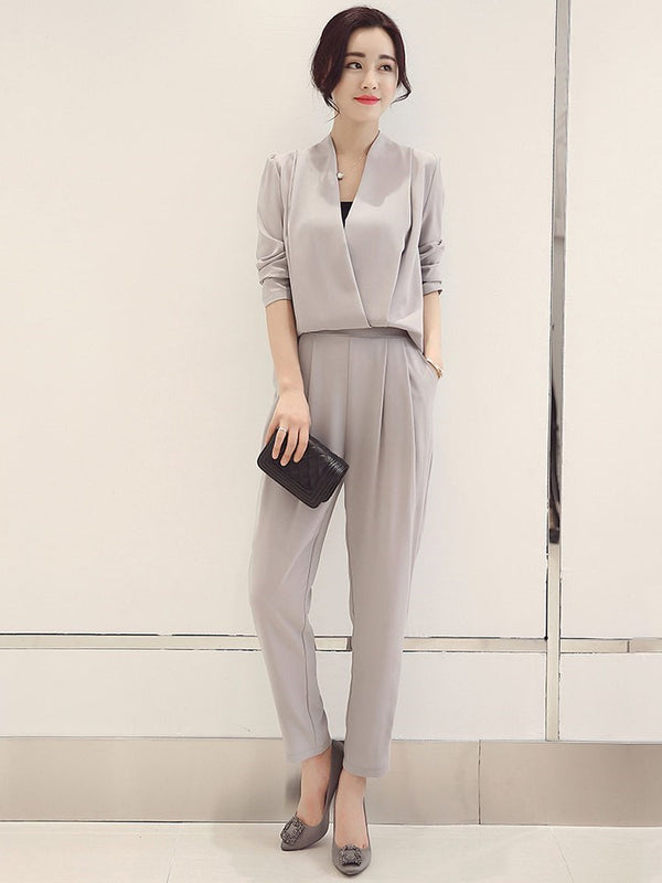 Ankle Length Pants Plain Pleated Pullover Two Piece Sets