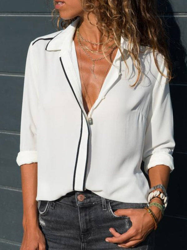Regular Long Sleeve Mid-Length Blouse