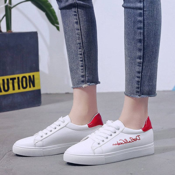 Lace-Up Print Round Toe Low-Cut Upper Flat With PU Sneakers