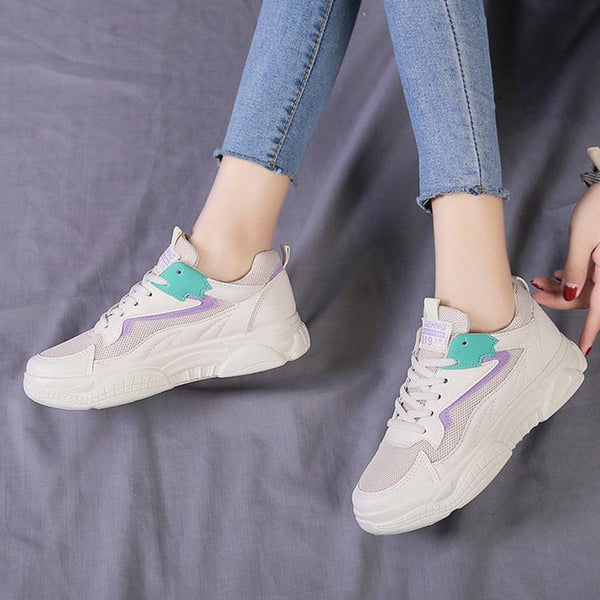 Round Toe Lace-Up Low-Cut Upper Platform Mesh Casual Sneakers
