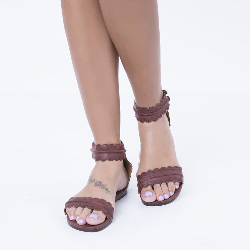 Open Toe Slip-On Plain Woven Sandals