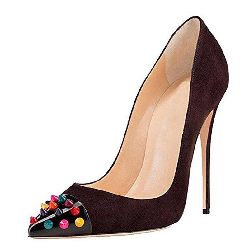 Pointed Toe Slip-On Stiletto Heel Rivet Low-Cut Upper 10.5cm Thin Shoes