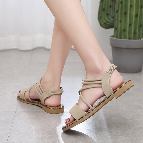 Elastic Band Block Heel Open Toe Strappy Low-Cut Upper Casual Sandals