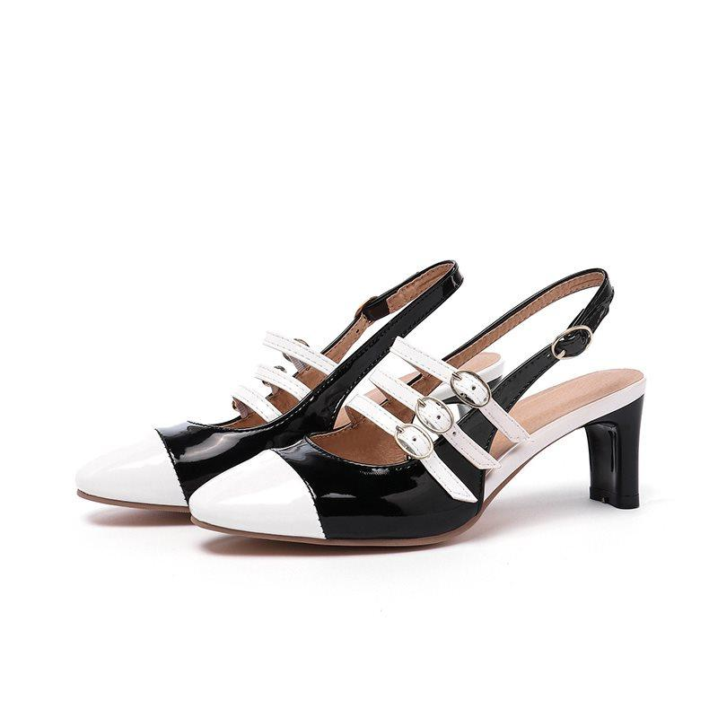 Slingback Strap Buckle Square Toe Casual Color Block Sandals