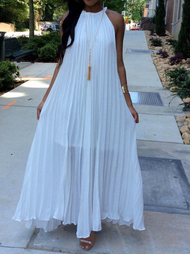 Pleated Sleeveless Ankle-Length Pleated Casual Dress