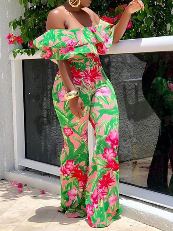 Print Full Length Floral Loose High Waist Jumpsuit