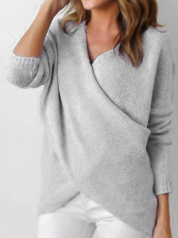 Regular Asymmetric Round Neck Fall Sweater