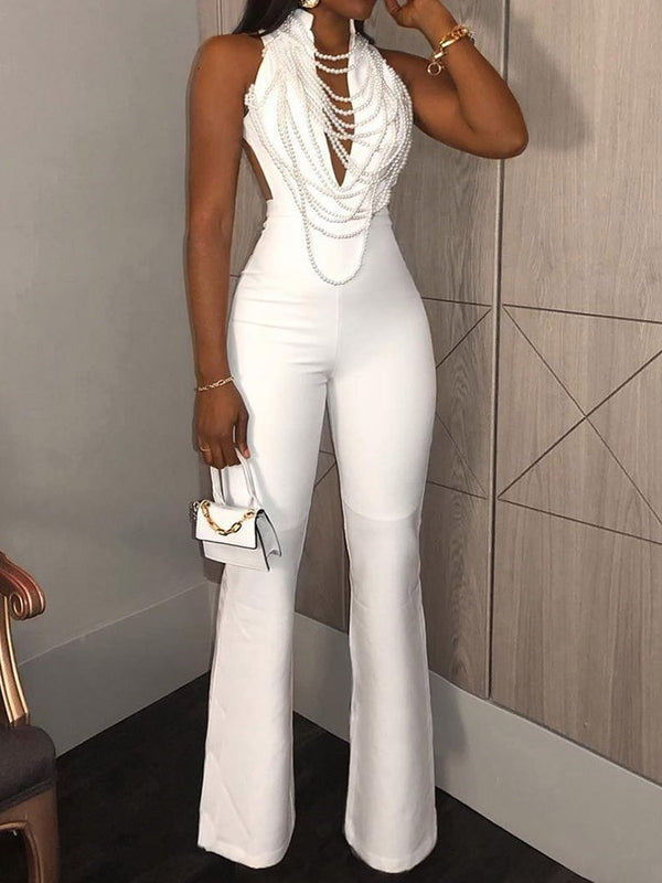 Plain Date Night Full Length High Waist Slim Jumpsuit