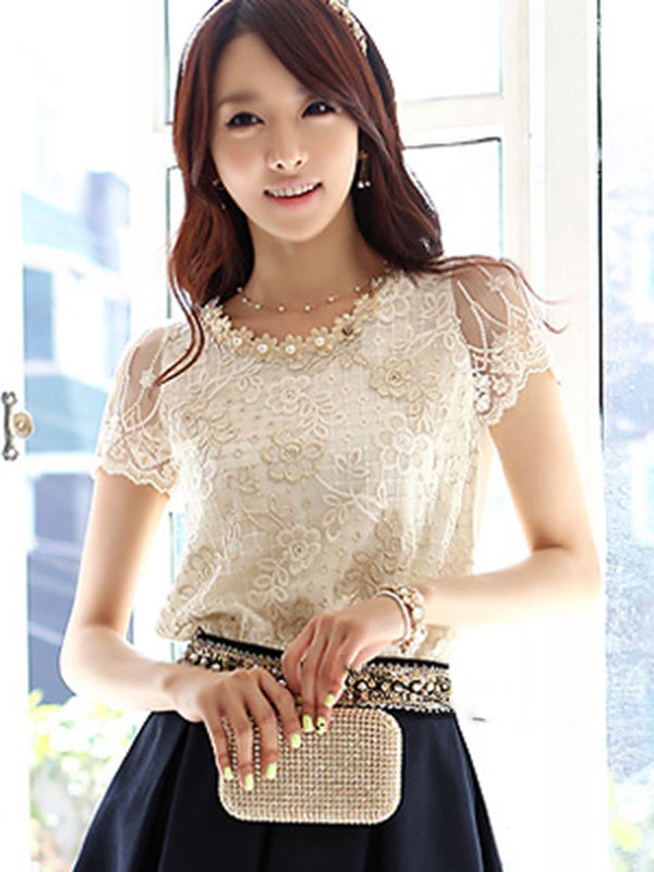 Round Neck Lace Short Sleeve Standard Blouse