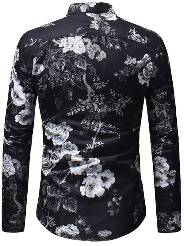 Print Floral Lapel Slim Single-Breasted Shirt