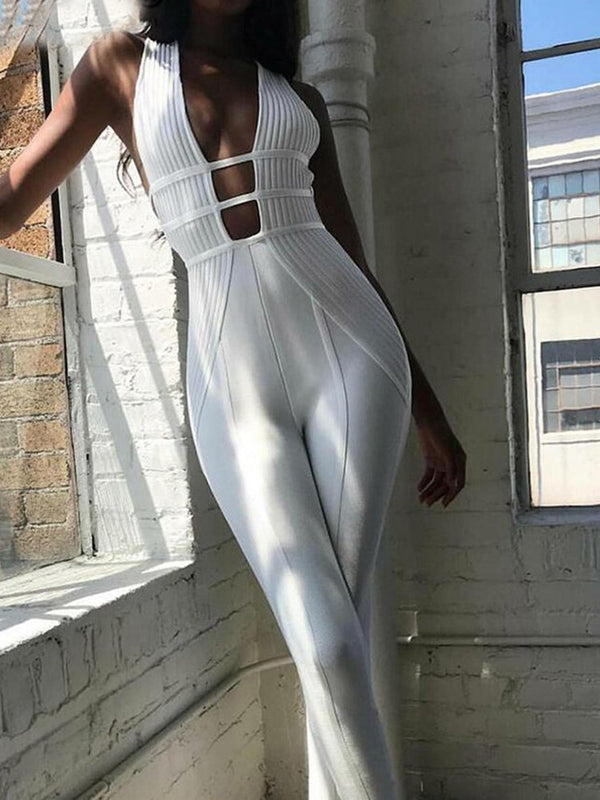 Sexy Patchwork Full Length Pencil Pants High Waist Jumpsuit