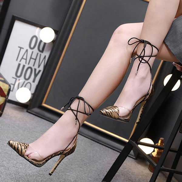 Stiletto Heel Cross Strap Lace-Up Pointed Toe 11cm Thin Shoes