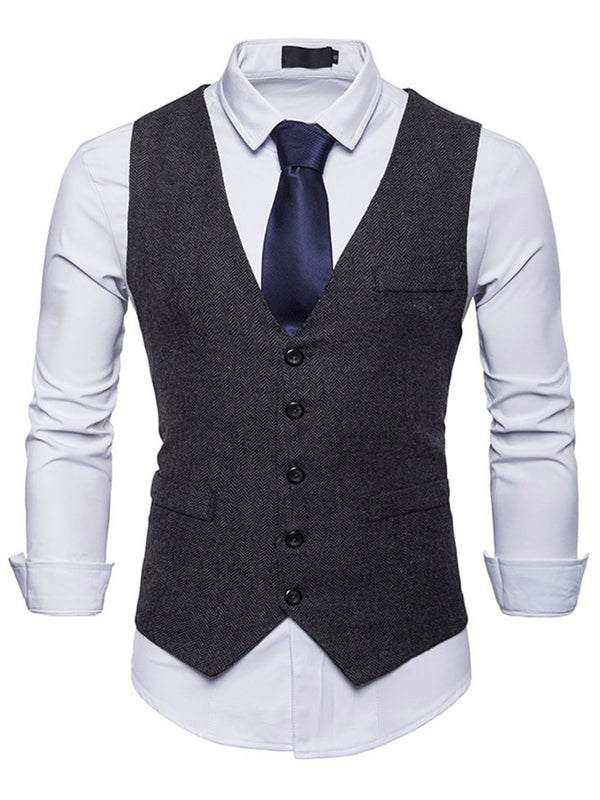 Stand Collar Plain Pocket Single-Breasted Spring Waistcoat