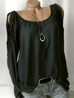 Round Neck Patchwork Regular Long Sleeve Mid-Length Blouse