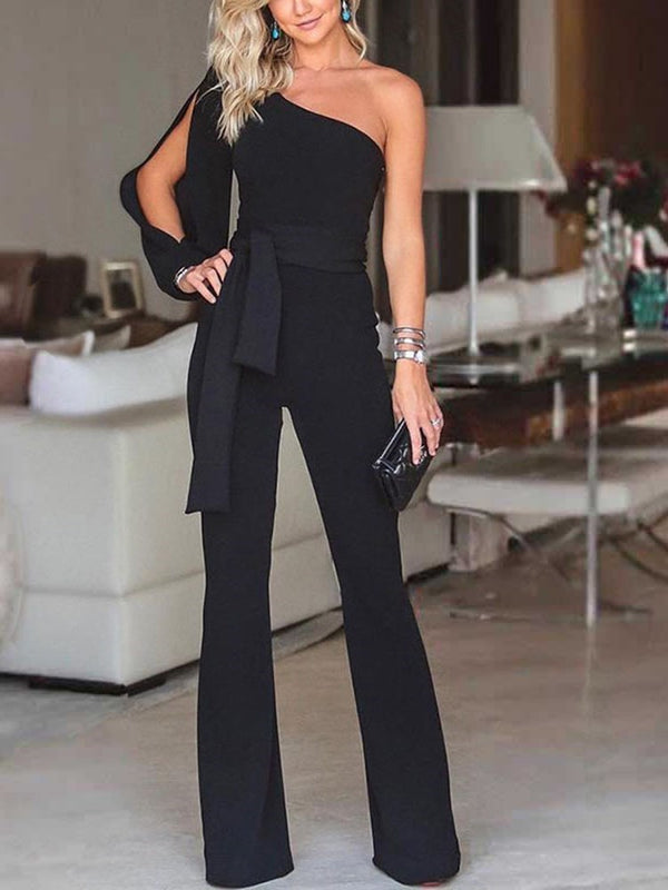 Western Plain Lace-Up Mid Waist Slim Jumpsuit