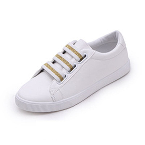 Round Toe Elastic Band Low-Cut Upper PU Plain Sneakers