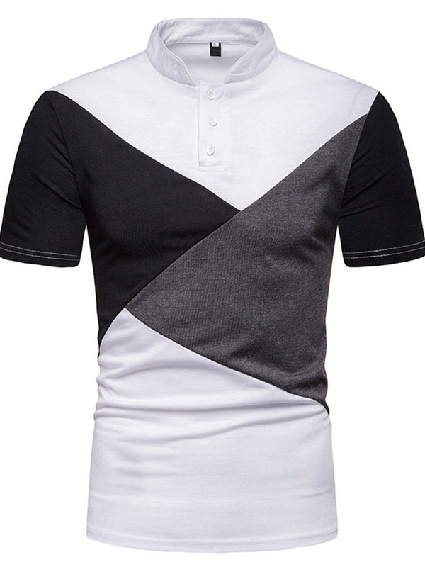 Patchwork Casual Stand Collar Polo Shirt