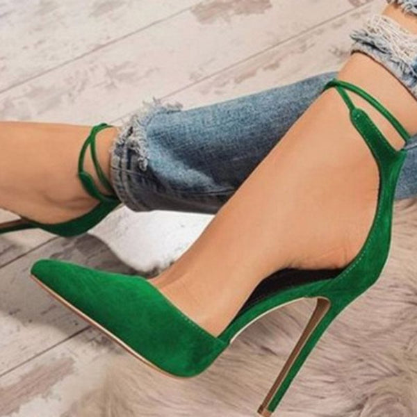 Pointed Toe Stiletto Heel Cross Strap Slip-On 11cm Plain Thin Shoes