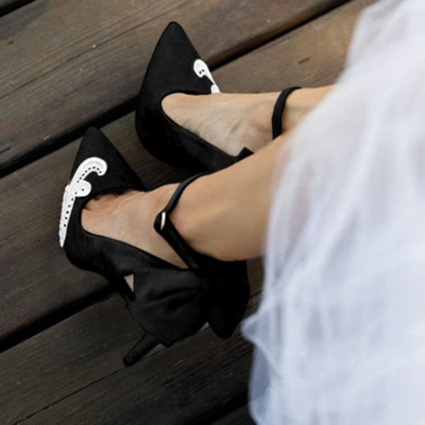 Buckle Pointed Toe Bow Stiletto Heel Ultra-High Heel Casual Thin Shoes