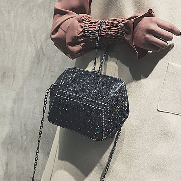 Sequins Plain PU Crossbody Bags