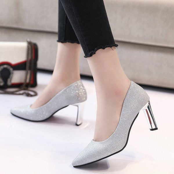 Chunky Heel Slip-On Pointed Toe Low-Cut Upper Casual Thin Shoes