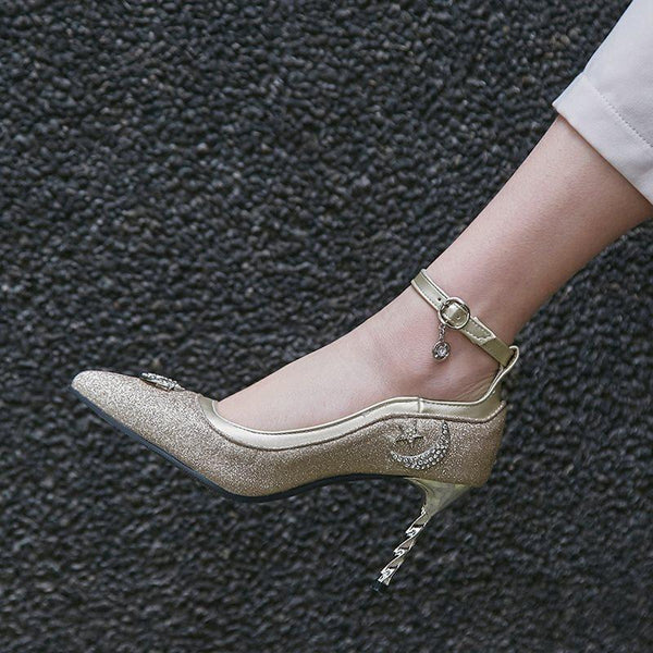 Buckle Pointed Toe Rhinestone Stiletto Heel Plain 8cm Thin Shoes