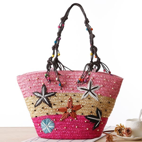 Fashion Knitted Linen Geometric Hobos Tote Bags
